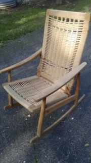 rocking chair wood with woven seat
