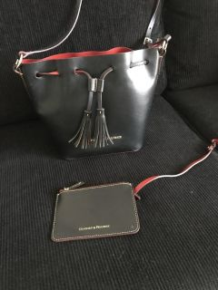 Dooney and Bourke Bucket Shoulder Bag, with attached small card or coin holder with zipper
