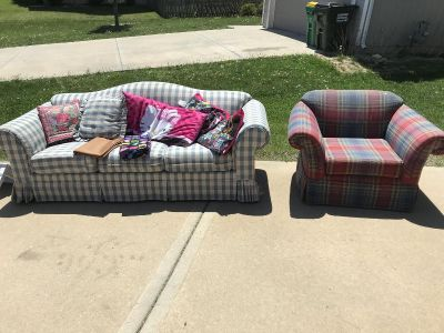 FREE! Couch and chair. Must pick up.