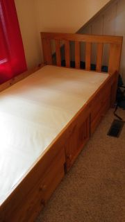 "Free twin size bed ! 43"" wide x 79"" long, fits regular twin mattress, includes drawers and storage cubby"