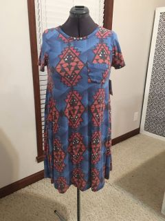 XS Blue/Rust with black and White Dress NWT