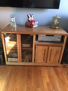 Oak TV Stand with Glass Doors