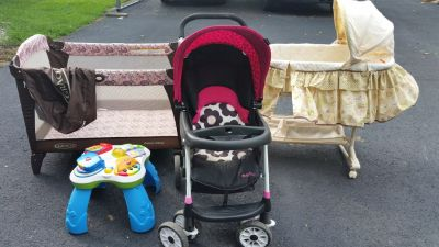 Baby stroller, Winnie the pooh bassinet, Graco playpen and an activity table, $60, 12709019177