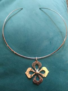 James Avery Collet Neck Collar Lg and Hammered Floral Pendant