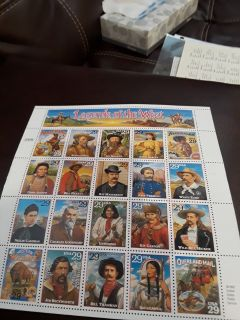 Full sheet Legends of the West postage stamps (20-29cent)