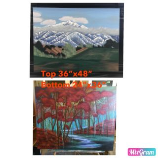 2 for 1 Landscape acrylic paintings