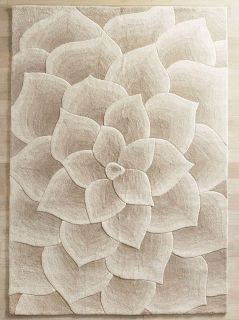Pier 1 Rose Tufted Collection Ivory Wool 6 x 9 rug