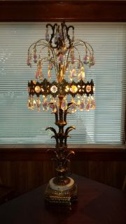 brass lamp with crystals