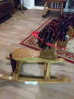 Vintage Small Children's WOODEN ROCKING HORSE with Yarn Mane and Tail
