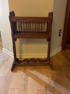Custom made solid walnut rocking doll cradle