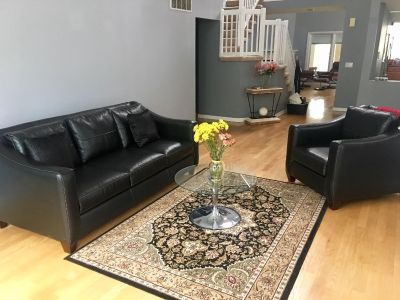 Sofa with matching chair. Small glass coffee table and oriental rug