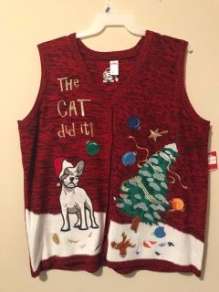 New 3X Ugly Christmas Sweater Vest The Cat Did It! Puppy Dog