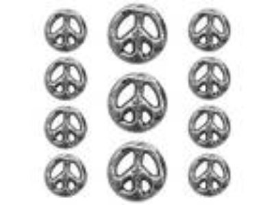 11 pc Organic Peace Sign Metal Blazer Jacket Coat Button Set
