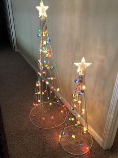 Set of two outdoor light up trees