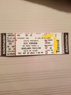 Ozzy Osbourne Tickets for No more Tours 420 cash for 2 tickets