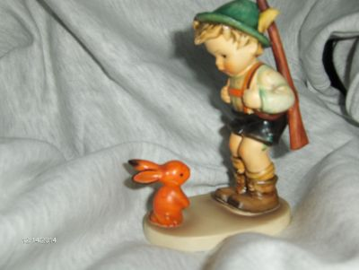 Vintage Very Rare Hummel Goebel Figurine Sensitive Hunter Germany Boy Rabbit