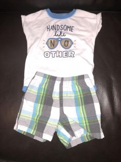 Baby boy outfit, cat and Jack 6-9 month onesie, carters 9 month shorts
