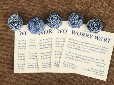 5 - WORRY WART - ART POTTERY - BY JOHN GARROU , OLD FORT NORTH CAROLINA