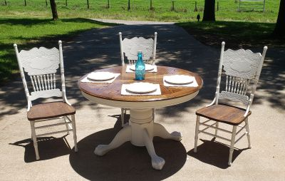 Claw foot table and 4 chairs