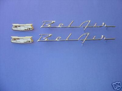 Find 1955-55-1956-56 CHEVROLET QUARTER PANEL SCRIPT KIT-BEL AIR-USA MADE-NEW motorcycle in Ross, Ohio, US, for US $64.99