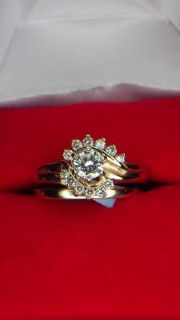 Vintage style gold and diamond ring set