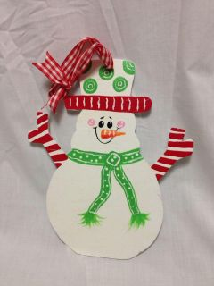 "Cute Wood Painted Snowman with Ribbon hanger. 10"" tall. Has small crack in arm."