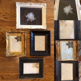 French country farmhouse collage grouping, handmade from different fabrics, crystals, silk, Great quality frames.