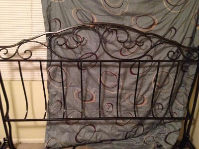 $150, Brown iron king size bed frame
