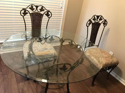 Glass Table/4 Chairs- USED