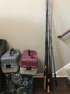 Fishing poles-bait casting and tackle boxes