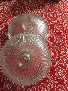 Heavy glass vintage candlestick holders