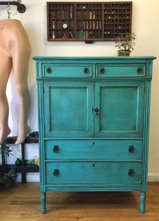 dresser, drawers, storage, antique, teal