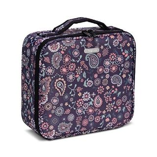 Portable Travel Cosmetic Bag Organizer with Brush Holder Pockets and Removable Dividers (Purple Floral)