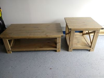 Farmhouse Style Coffee Table and Side Table