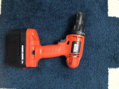 Black and Decker cordless drill with charger