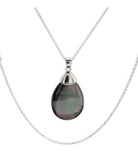 Multi color pear shaped abalone shell pendant necklace