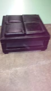 Leather ottoman with removable trays, coffee table & small table with drawer