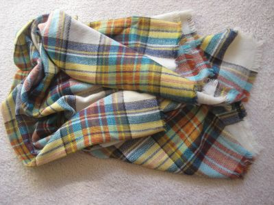 Steve Madden Classical Cool Plaid Multicolor Blanket Wrap Shawl EUC worn twice