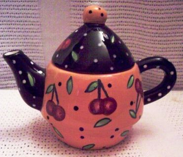 Yellow Tea Pot Cherry Design.