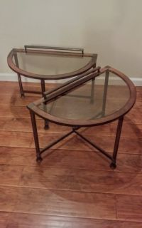 Wrought Iron / Glass End Tables