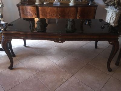 Beautiful Antique French/Italian black glass Dining table