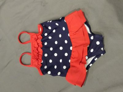 EUC Carter's red, white & blue one piece bathing suit with ruffles size 6 months P/U ONLY