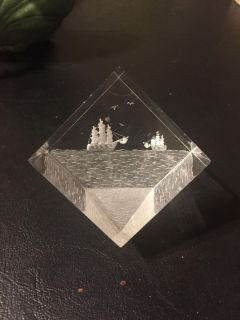 Etched lucite cube