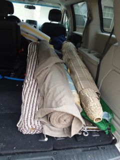 4 large bolts of fabric for recovering furniture or the taupe one would make nice drapes $100 or best offer willing to separate