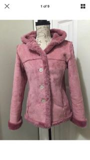Limited Too Button-Up Pink *Suede Coat W/Hood Girls Size:L/14 or Adult Small EUC