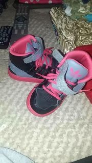 Adidas pink & black high tops. Size kids