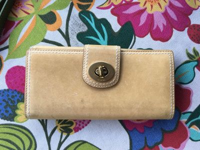 Coach Wallet. Used. Leather. Blue leather interior. 7 1/2 x 4 when closed