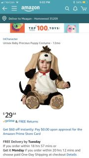 Precious puppy baby Halloween costume. Size 6-12 months