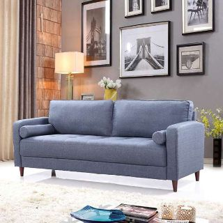 Mid Century Modern Linen Fabric Living Room Sofa (Dark Blue)