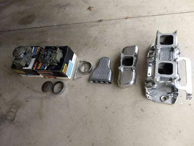 Chevy big block polished aluminum intake and carbs